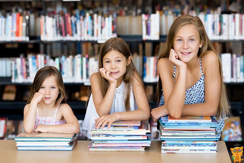 діти, бібліотека та книги